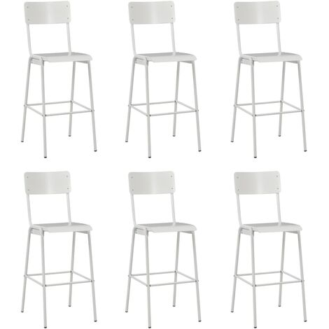 Bar Chairs 6 pcs White Solid Plywood Steel