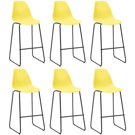 Bar Chairs 6 pcs Yellow Plastic - Yellow