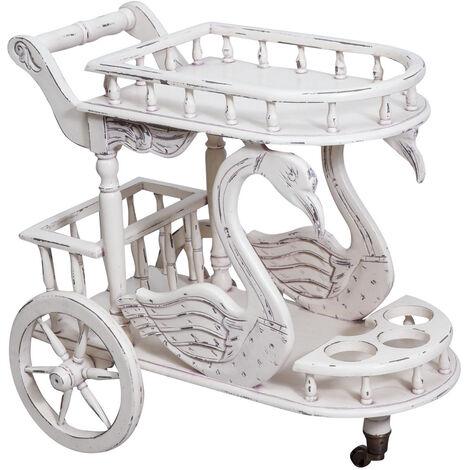 Bar chariot en acajou massif finition blanche patinée L71 x PR46 x H72 cm