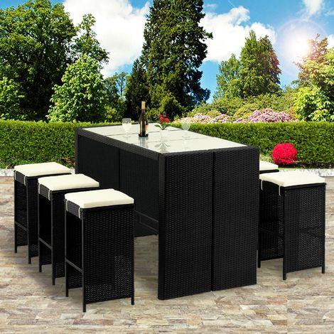 Bar de jardin set ensemble polyrotin 13 pcs avec coussins ...