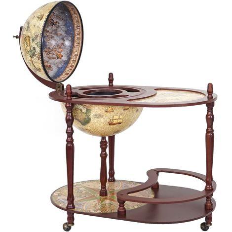 Bar de salon avec table HHG-524, minibar, globe terrestre Ø 42cm, roulant, bois d'eucalyptus