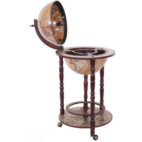 Bar de salon HHG-522, minibar, étagère de vin, globe terrestre Ø 33cm, roulant, bois d'eucalyptus ~ marron