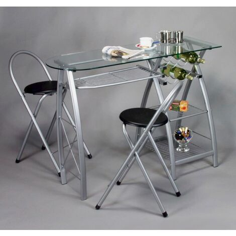 Bar glass kitchen table with 2 chairs