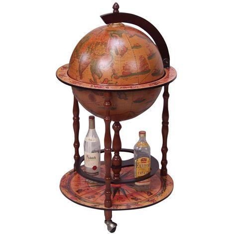 bar globe terrestre mappemonde sur roulettes en bois. Black Bedroom Furniture Sets. Home Design Ideas