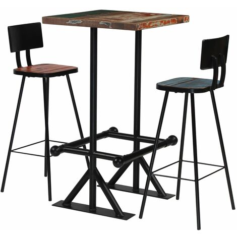 Bar Set 3 Piece Solid Reclaimed Wood Multicolour