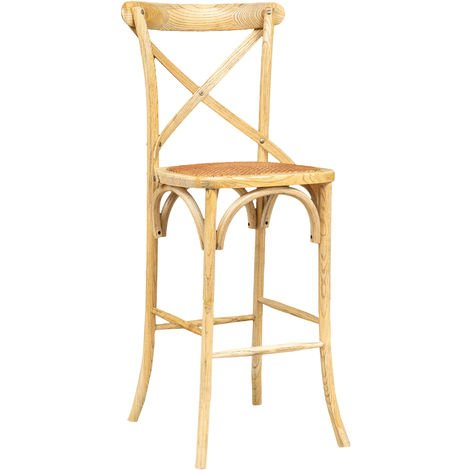 Bar stool in solid ash wood and rattan seat with natural finish L 46 x PR 42 x H 118 cm