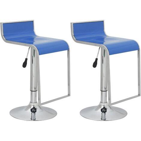 Bar stool low back blue ABS-plastic (set of 2) - Blue