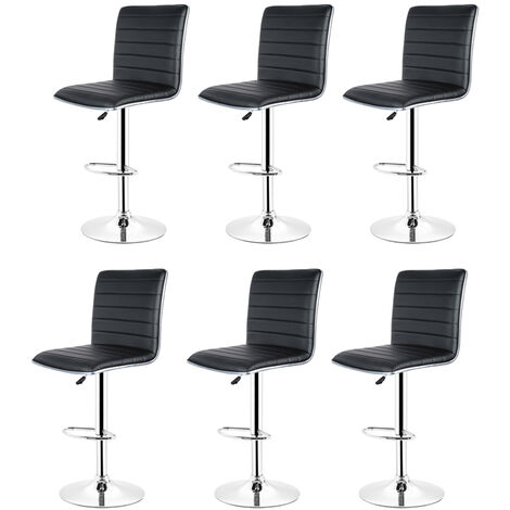 Bar Stool, Set of 6 , with Faux Leather Backrest Base and Footrest Black Chrome