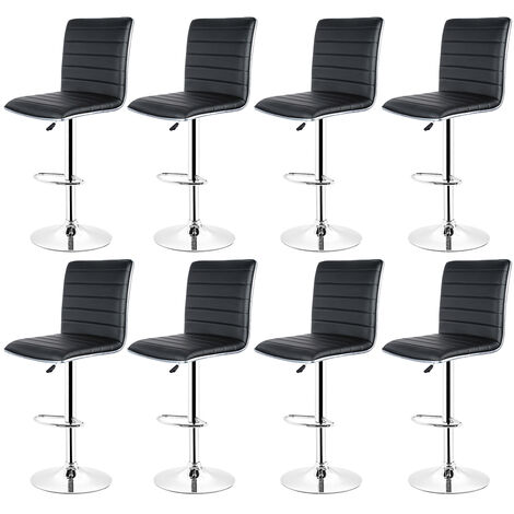 Bar Stool, Set of 8 , with Faux Leather Backrest Base and Footrest Black Chrome