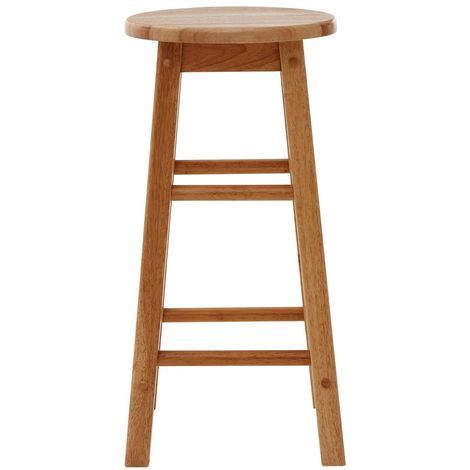 Bar stool, tropical hevea wood, natural