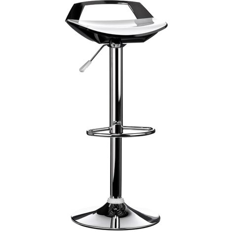 Bar stool, white/black, chrome finish base