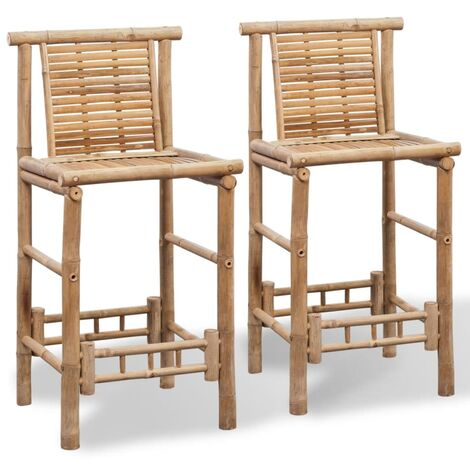 Bar Stools 2 pcs Bamboo - Brown