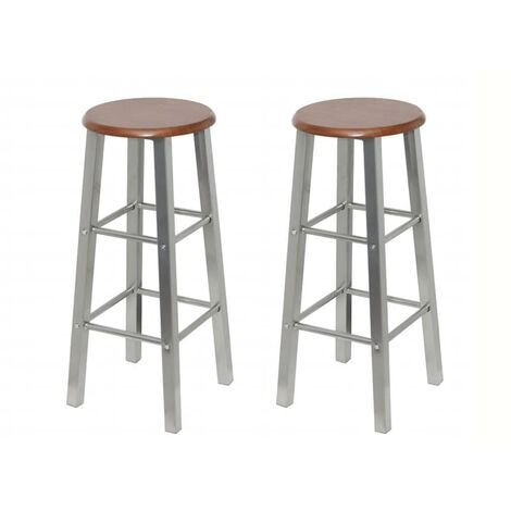 Bar Stools 2 pcs Metal with MDF Seat