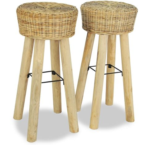 Bar Stools 2 pcs Natural Rattan