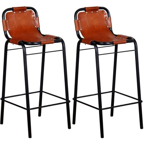 Bar Stools 2 pcs Real Leather