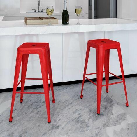 Bar Stools 2 pcs Red Steel