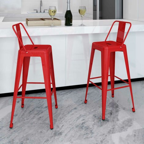 Bar Stools 2 pcs Red Steel - Red