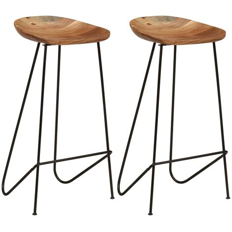 Bar Stools 2 pcs Solid Acacia Wood - Brown