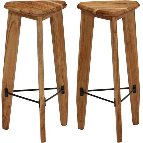 Bar Stools 2 pcs Solid Acacia Wood - Brown