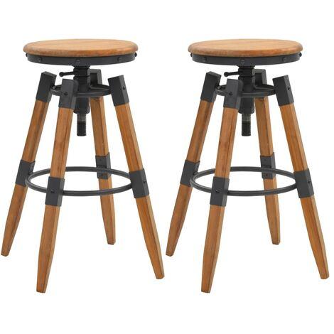 Bar Stools 2 pcs Solid Fir Wood