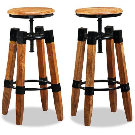 Bar Stools 2 pcs Solid Mango Wood