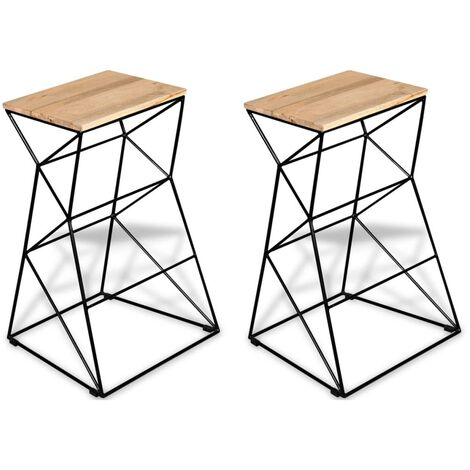 Bar Stools 2 pcs Solid Mango Wood - Brown