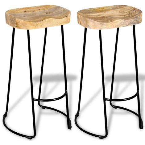 Bar Stools 2 pcs Solid Mango Wood - Multicolour