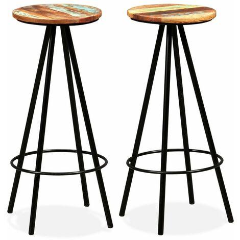 Bar Stools 2 pcs Solid Reclaimed Wood