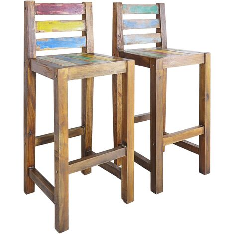 Bar Stools 2 pcs Solid Reclaimed Wood - Multicolour