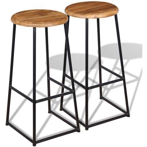 Bar Stools 2 pcs Solid Teak Wood