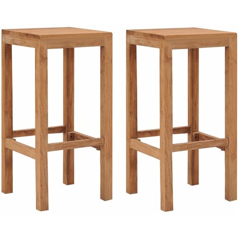 Bar Stools 2 pcs Solid Teak Wood - Brown
