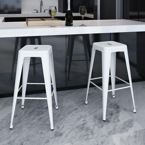 Bar Stools 2 pcs White Steel - White