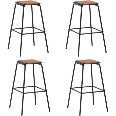 Bar Stools 4 pcs Black Solid Pinewood and Steel