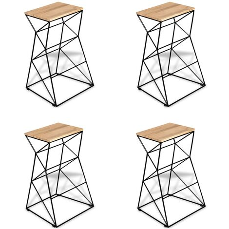 Bar Stools 4 pcs Solid Mango Wood - Brown