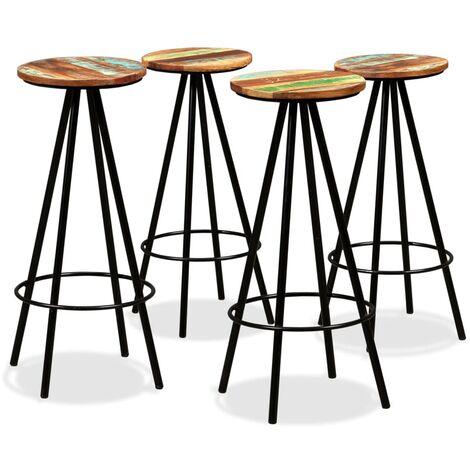 Bar Stools 4 pcs Solid Reclaimed Wood