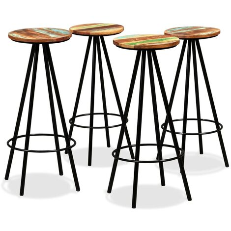 Bar Stools 4 pcs Solid Reclaimed Wood - Brown