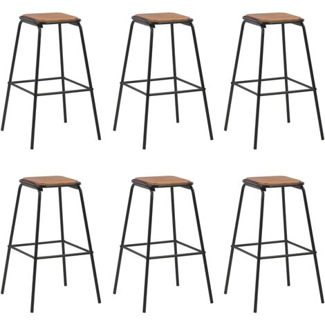 Bar Stools 6 pcs Black Solid Pinewood and Steel