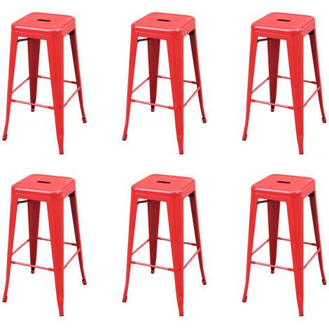 Bar Stools 6 pcs Red Steel