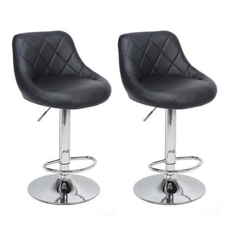 Bar Stools Set of 2, Adjustable Swivel Gas Lift Elegant Leather Bar Chairs for Kitchen Breakfast Bar Counter Home Furniture (Black)