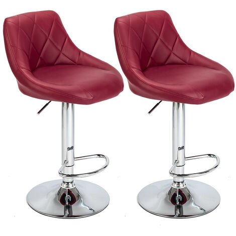 """main image of """"Bar Stools Set of 2, Adjustable Swivel Gas Lift Elegant Leather Bar Chairs for Kitchen Breakfast Bar Counter Home Furniture (Red)"""""""