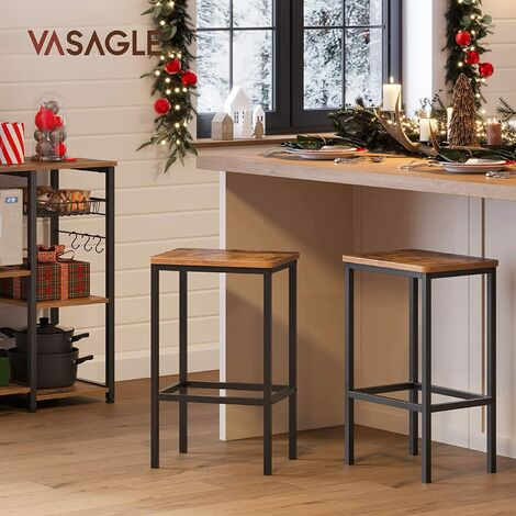 """main image of """"Bar Stools, Set of 2 Bar Chairs, Kitchen Breakfast Bar Stools with Footrest, Industrial, in Living Room, Party Room, Rustic Brown LBC65X - Rustic Brown"""""""