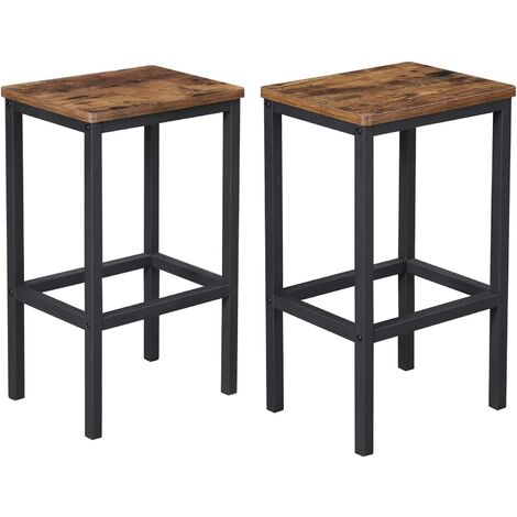 Bar Stools, Set of 2 Bar Chairs, Kitchen Breakfast Bar Stools with Footrest, Industrial, in Living Room, Party Room, Rustic Brown LBC65X - Rustic Brown