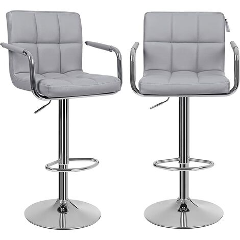 Bar Stools Set of 2, Height Adjustable Bar Chairs in Synthetic Leather, 360° Swivel Kitchen Stool with Backrest and Footrest, Black/Grey/White