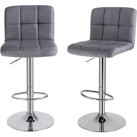 Bar Stools Set of 2, Height Adjustable Bar Chairs with Linen Surface, 360° Swivel Kitchen Stool with Backrest and Footrest, Chrome-Plated Steel, Smoke Grey LJB14GUK
