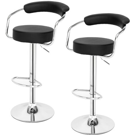 Bar Stools Set of 2 with Arms, Adjustable Swivel Gas Lift Round Leather Bar Chairs for Kitchen Breakfast Bar Counter Home Furniture (Black)