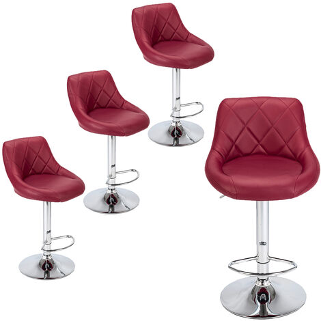 """main image of """"Bar Stools Set of 4, Adjustable Swivel Gas Lift Elegant Leather Counter Chairs for Kitchen Breakfast Bar Counter Home Furniture (Red)"""""""