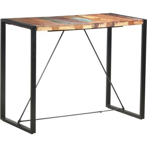 Bar Table 140x70x110 cm Solid Reclaimed Wood - Brown