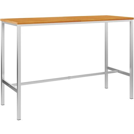 Bar Table 160x60x105 cm Solid Acacia Wood and Stainless Steel