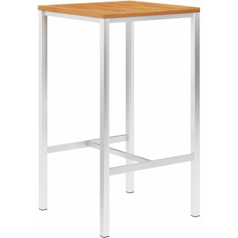 Bar Table 60x60x105 cm Solid Acacia Wood and Stainless Steel