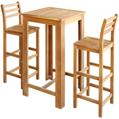 Bar Table and Chair Set Solid Acacia Wood 3 Pieces